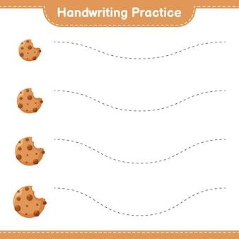 Ćwiczenia pisma ręcznego. śledzenie linii plików cookie. gra edukacyjna dla dzieci, arkusz do druku