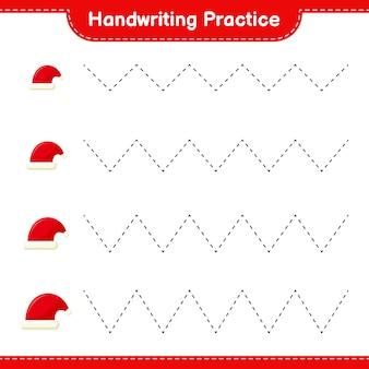 Ćwiczenia pisma ręcznego. śledzenie linii santa hat. gra edukacyjna dla dzieci, arkusz do druku