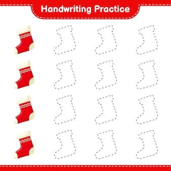 Ćwiczenia pisma ręcznego. śledzenie linii skarpety bożonarodzeniowej. gra edukacyjna dla dzieci