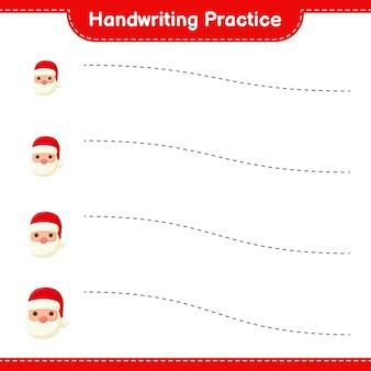 Ćwiczenia pisma ręcznego. śledzenie linii świętego mikołaja. gra edukacyjna dla dzieci, arkusz do druku