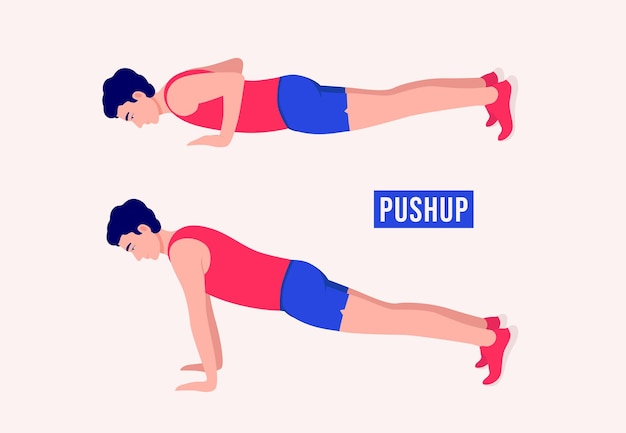 Ćwiczenia pushup mężczyźni ćwiczą fitness aerobik i ćwiczenia
