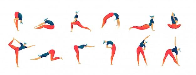 Ćwiczenia rozciągające ludzie zestaw na białym tle ilustracja, mężczyzna i kobieta treningu i fitness.