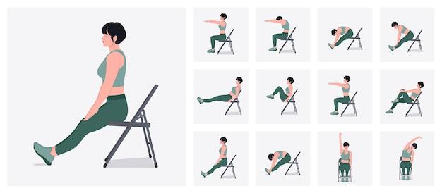 Ćwiczenia rozciągające na krześle ustawiają kobietę wykonującą ćwiczenia fitness i jogi z krzesłem