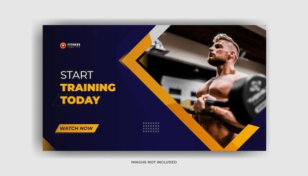 Ćwiczenia siłownia fitness miniatura kanału youtube i baner internetowy premium wektor