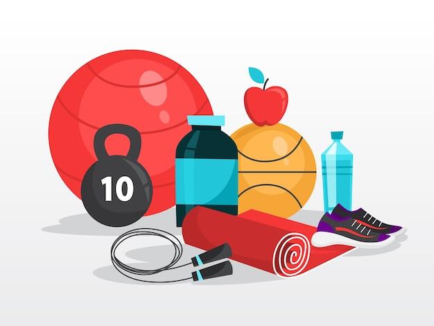 Ćwiczenia sportowe. czas na fitness i trening