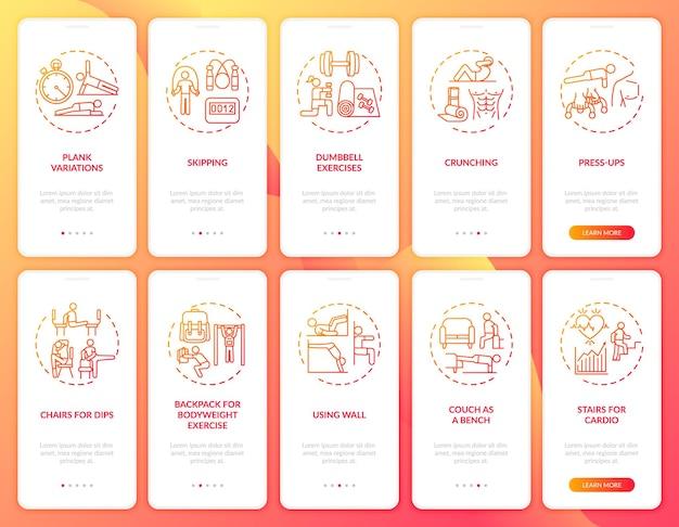 Ćwiczenia w domu zdalne wprowadzanie ekranu strony aplikacji mobilnej z ustawionymi koncepcjami. kroki instruktażowe dotyczące alternatywnych urządzeń siłowni. ilustracje szablonów interfejsu użytkownika