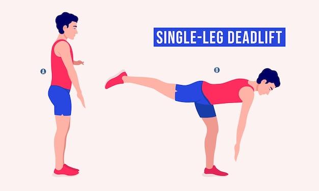 Ćwiczenia z jedną nogą martwy ciąg kobieta trening fitness aerobik i ćwiczenia