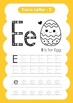 Ćwiczenia z literą alfabetu e z ilustracją słownictwa kreskówek