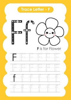 Ćwiczenia z literą alfabetu f z kreskówki słownictwa ilustracji
