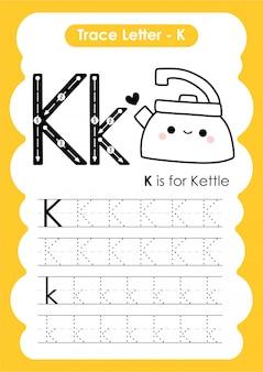 Ćwiczenia z literą alfabetu k z ilustracji słownictwa kreskówek