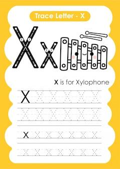 Ćwiczenia z literą alfabetu x z ilustracją słownictwa kreskówek