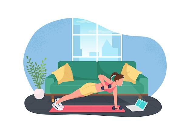 Ćwiczenia żeński freelancer w płaski charakter laptopa na ilustracja kreskówka