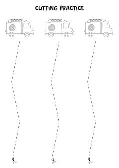 Ćwiczenie cięcia dla dzieci w wieku przedszkolnym. przecięte linią przerywaną. czarno-białe wozy strażackie.