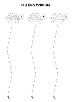 Ćwiczenie cięcia dla dzieci w wieku przedszkolnym. przecięte linią przerywaną. śliczne żółwie.