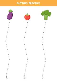 Ćwiczenie cięcia dla dzieci w wieku przedszkolnym. przecięte linią przerywaną. słodkie warzywa.