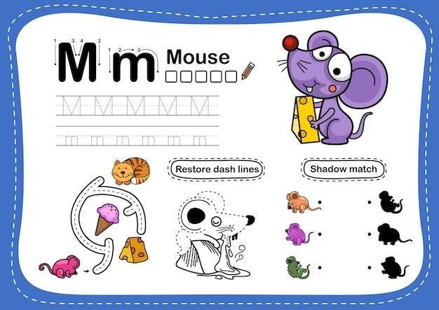 Ćwiczenie myszy z literą alfabetu ze słownictwem z kreskówki