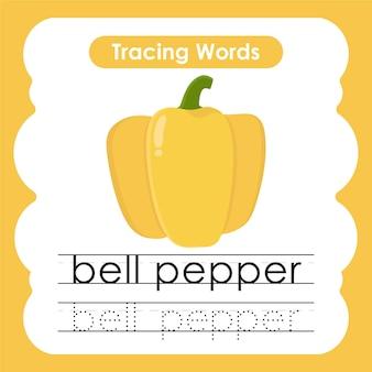 Ćwiczenie pisania słów z owoców i warzyw alfabetyczne śledzenie z papryką b
