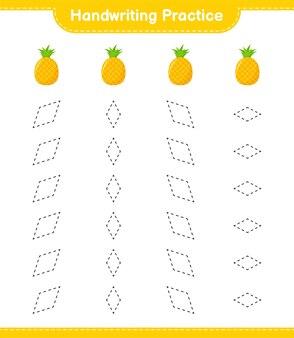 Ćwiczenie pisma ręcznego. śledzenie linii ananasa. gra edukacyjna dla dzieci, arkusz do druku
