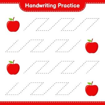 Ćwiczenie pisma ręcznego. śledzenie linii apple. gra edukacyjna dla dzieci, arkusz do druku