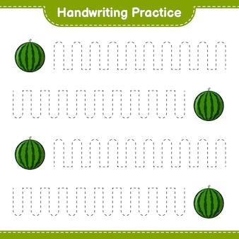 Ćwiczenie pisma ręcznego. śledzenie linii arbuza. gra edukacyjna dla dzieci, arkusz do druku