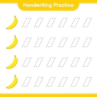 Ćwiczenie pisma ręcznego. śledzenie linii bananów. gra edukacyjna dla dzieci, arkusz do druku