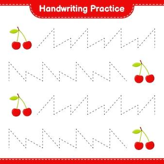 Ćwiczenie pisma ręcznego. śledzenie linii cherry. gra edukacyjna dla dzieci, arkusz do druku