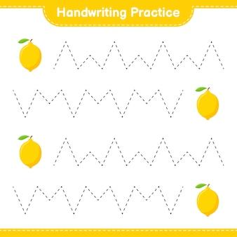 Ćwiczenie pisma ręcznego. śledzenie linii cytryny. gra edukacyjna dla dzieci, arkusz do druku