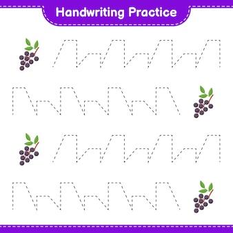 Ćwiczenie pisma ręcznego. śledzenie linii czarnego bzu. gra edukacyjna dla dzieci, arkusz do druku