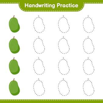 Ćwiczenie pisma ręcznego. śledzenie linii jackfruit. gra edukacyjna dla dzieci, arkusz do druku, ilustracja