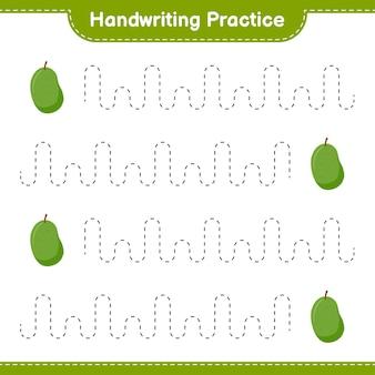 Ćwiczenie pisma ręcznego. śledzenie linii jackfruit. gra edukacyjna dla dzieci, arkusz do druku