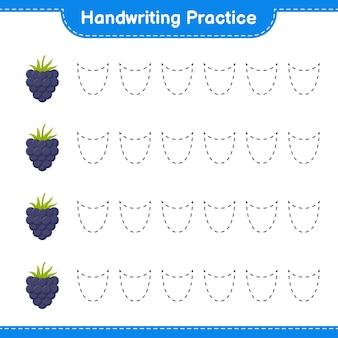 Ćwiczenie pisma ręcznego. śledzenie linii jeżyn. gra edukacyjna dla dzieci, arkusz do druku