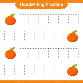 Ćwiczenie pisma ręcznego. śledzenie linii mandarynki. gra edukacyjna dla dzieci, arkusz do druku