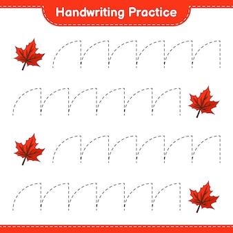 Ćwiczenie pisma ręcznego śledzenie linii maple leaf gra edukacyjna dla dzieci do wydrukowania