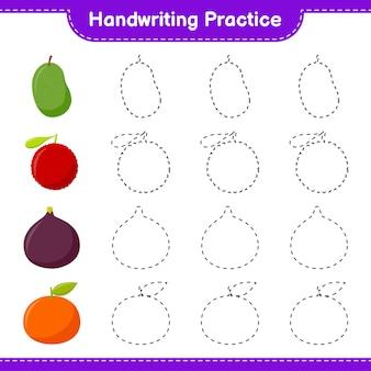Ćwiczenie pisma ręcznego. śledzenie linii owoców. gra edukacyjna dla dzieci, arkusz do druku, ilustracja