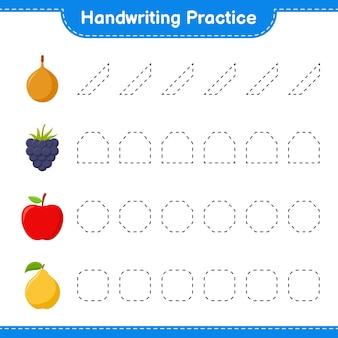 Ćwiczenie pisma ręcznego. śledzenie linii owoców. gra edukacyjna dla dzieci, arkusz do druku