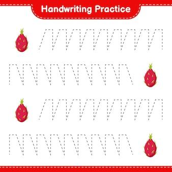 Ćwiczenie pisma ręcznego. śledzenie linii owocu smoka. gra edukacyjna dla dzieci, arkusz do druku