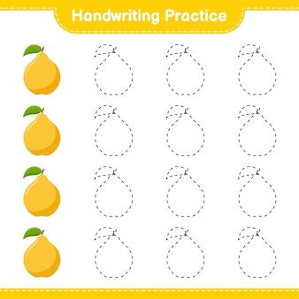 Ćwiczenie pisma ręcznego. śledzenie linii pigwy. gra edukacyjna dla dzieci, arkusz do druku, ilustracja