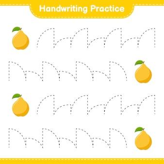 Ćwiczenie pisma ręcznego. śledzenie linii pigwy. gra edukacyjna dla dzieci, arkusz do druku