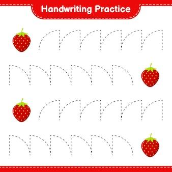 Ćwiczenie pisma ręcznego. śledzenie linii strawberry. gra edukacyjna dla dzieci, arkusz do druku