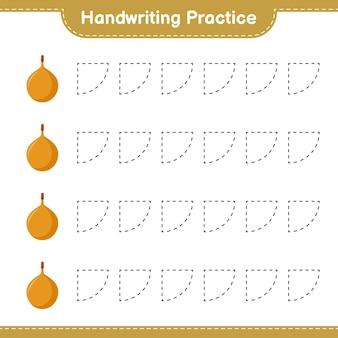 Ćwiczenie pisma ręcznego. śledzenie linii voavanga. gra edukacyjna dla dzieci, arkusz do druku