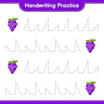Ćwiczenie pisma ręcznego. śledzenie linii winogron. gra edukacyjna dla dzieci, arkusz do druku