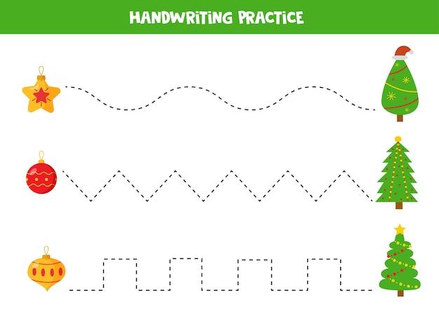 Ćwiczenie pisma ręcznego z choinkami i bombkami