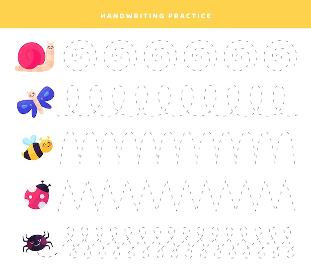 Ćwiczenie pisma ręcznego ze słodkimi owadami