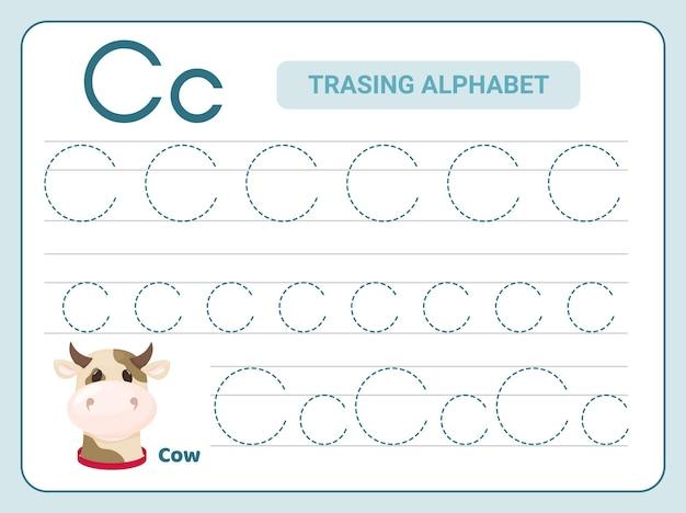 Ćwiczenie śledzenia alfabetu w arkuszu z literą c.