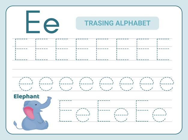 Ćwiczenie śledzenia alfabetu w arkuszu z literą e.