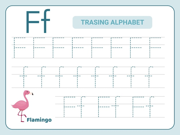 Ćwiczenie śledzenia alfabetu w arkuszu z literą f.