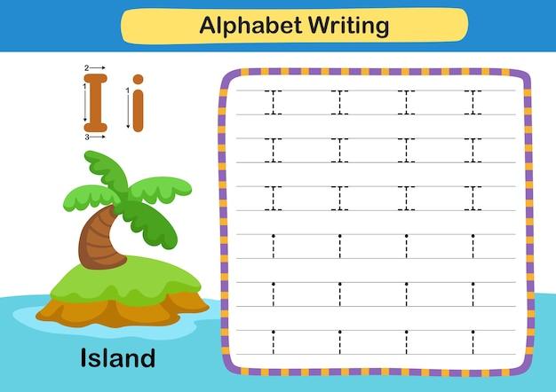Ćwiczenie z literą alfabetu i wyspa z ilustracją słownictwa kreskówki