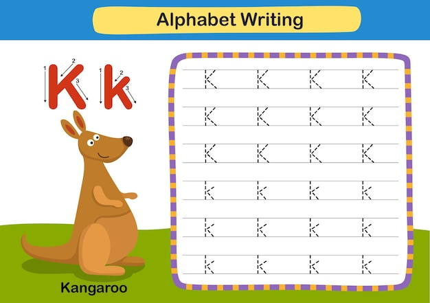 Ćwiczenie z literą alfabetu k kangur z ilustracją słownictwa kreskówki