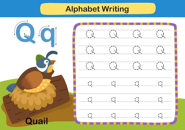 Ćwiczenie z literą alfabetu q przepiórka z ilustracją słownictwa kreskówki
