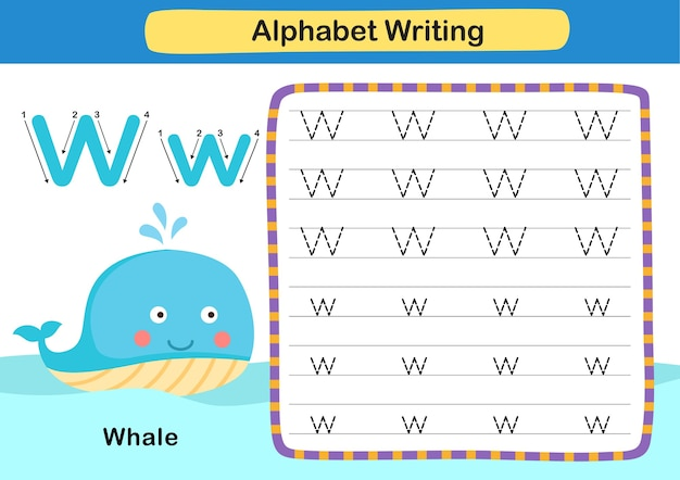 Ćwiczenie z literą alfabetu w whale z ilustracją słownictwa kreskówki